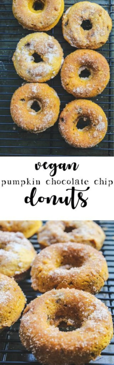 overhead image of vegan pumpkin chocolate chip donuts