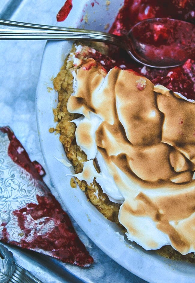 overhead image of cranberry meringue pie filling