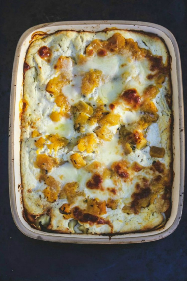 overhead image of roasted butternut squash and pumpkin lasagna