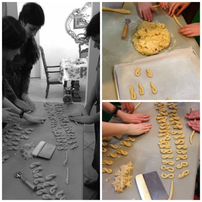 collage of taralli cookie shaping