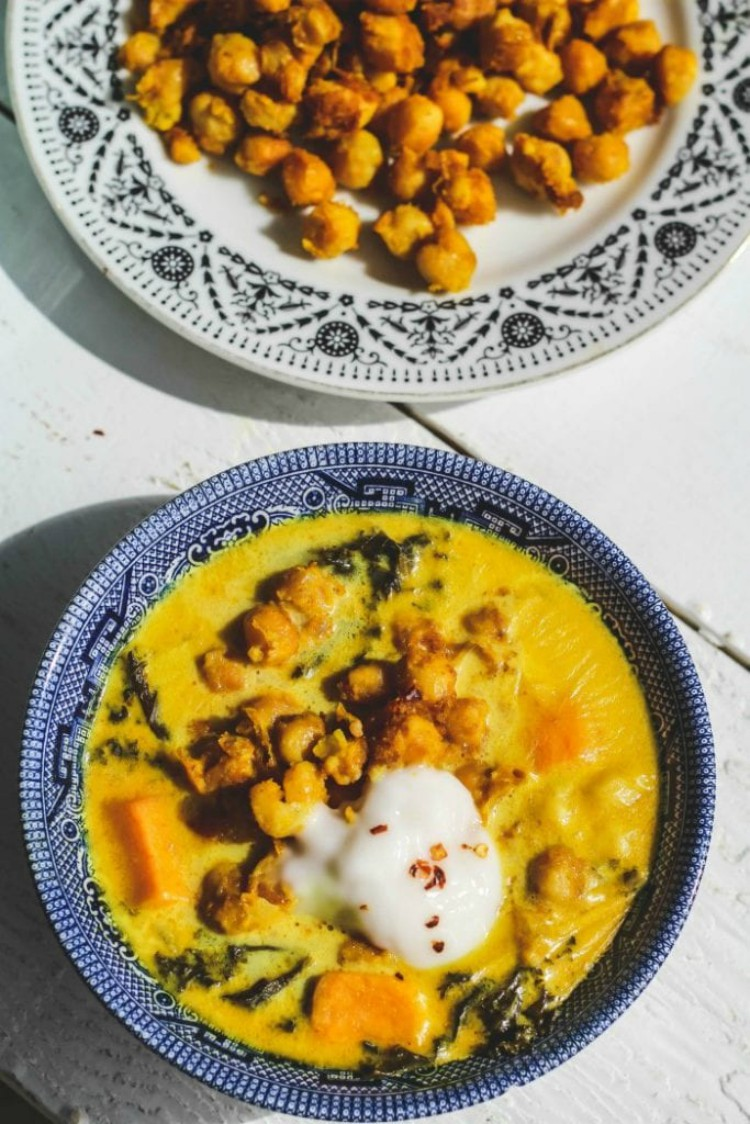 overhead image of chickpea stew with kale and sweet potatoes