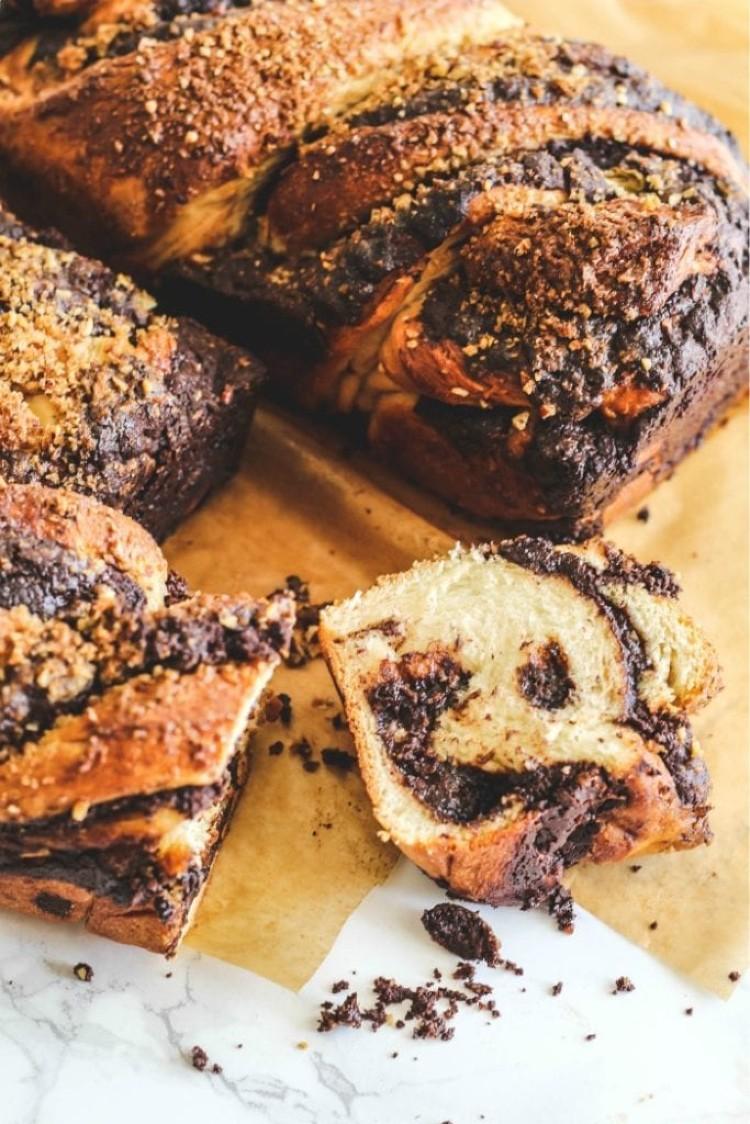 image of sliced open chocolate babka