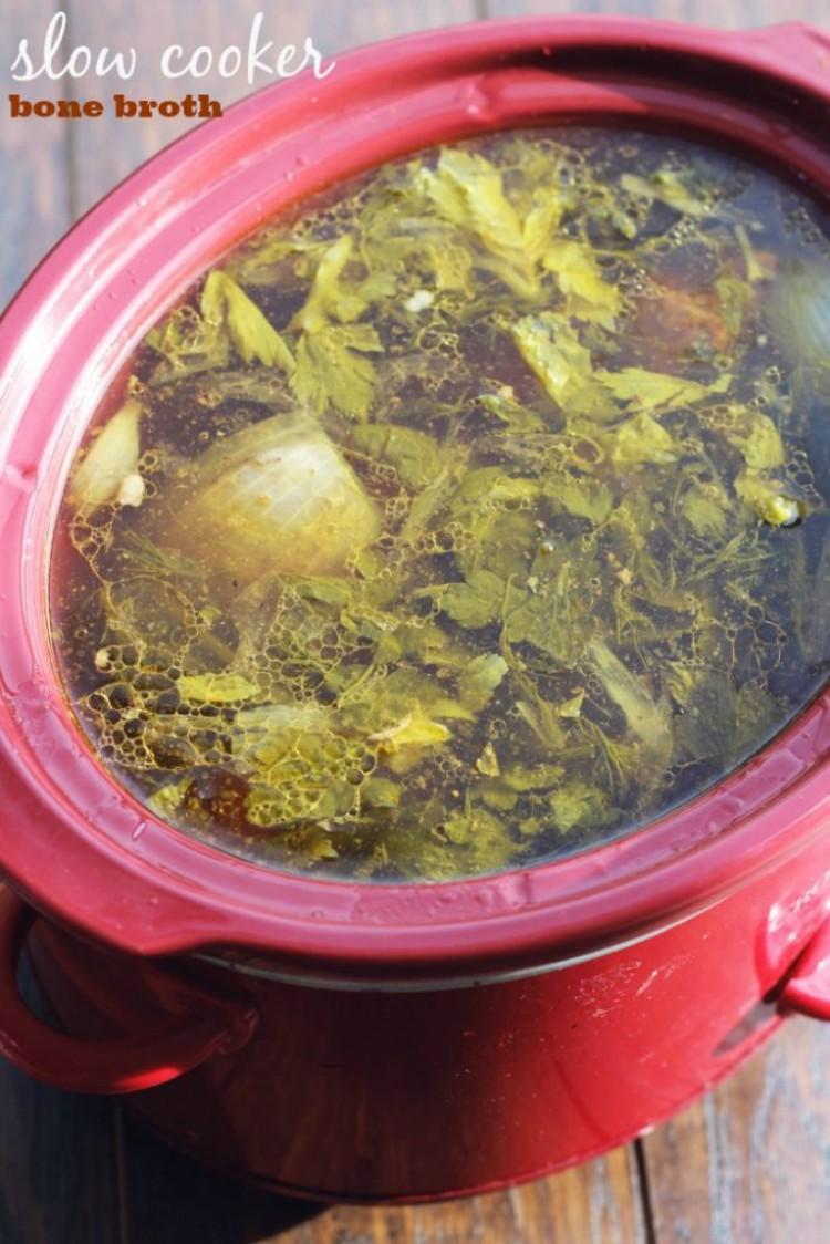 overhead image of slow cooker beef broth