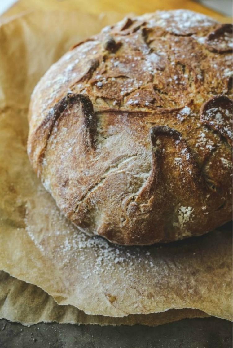 overhead image of crusty no knead italian bread