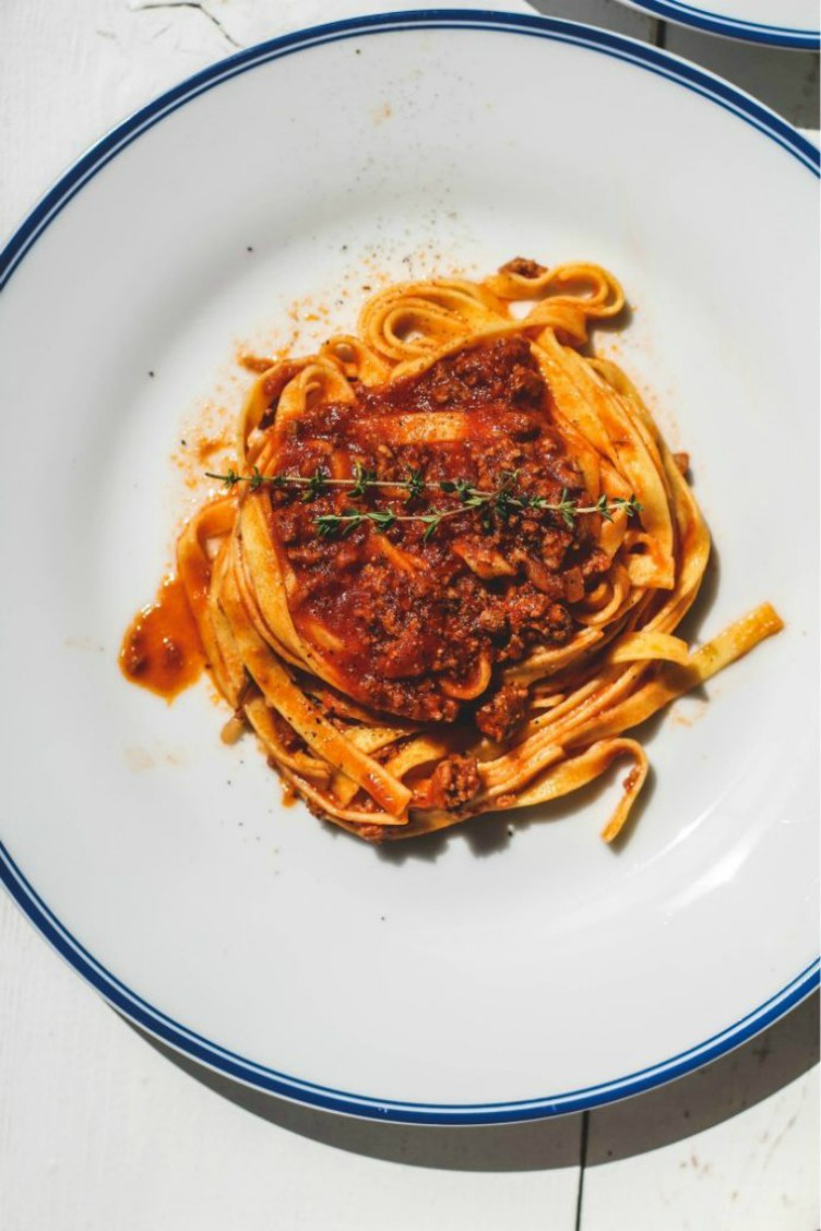 overhead image of fettuccine with weeknight lamb ragu'