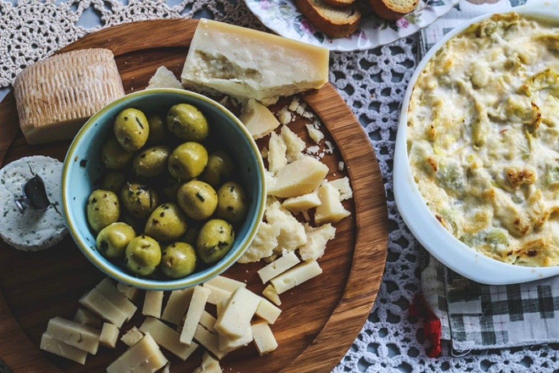 image of olives on a cheese board