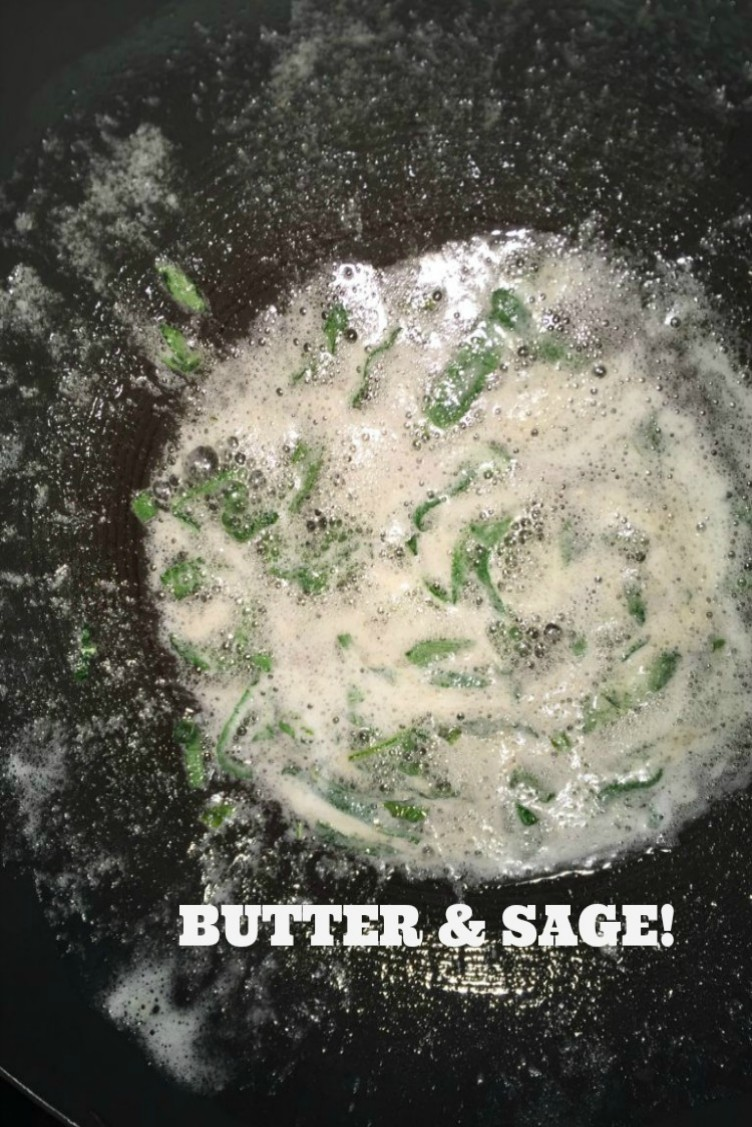 overhead image of a butter sage sauce