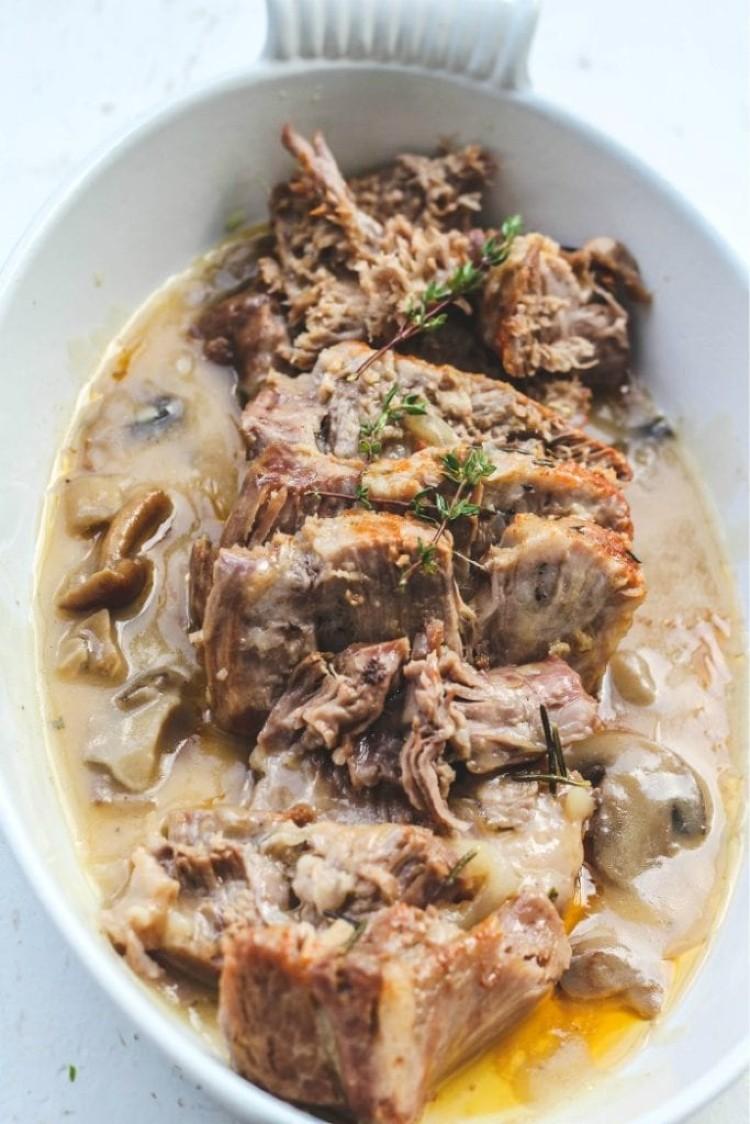 overhead image of Italian Instant Pot pork roast
