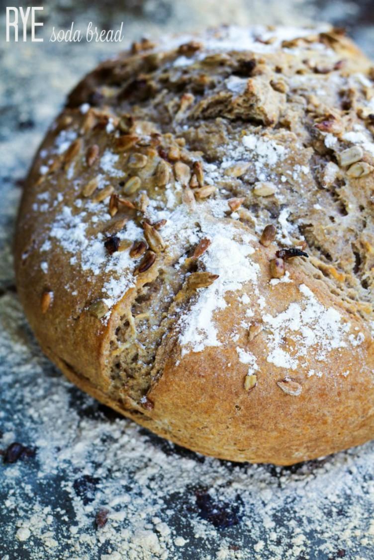 overhead image of rye soda bread