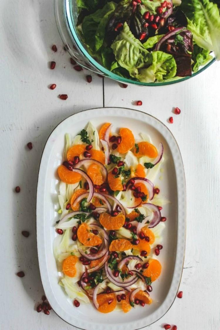 overhead image of sicilian fennel and orange salad
