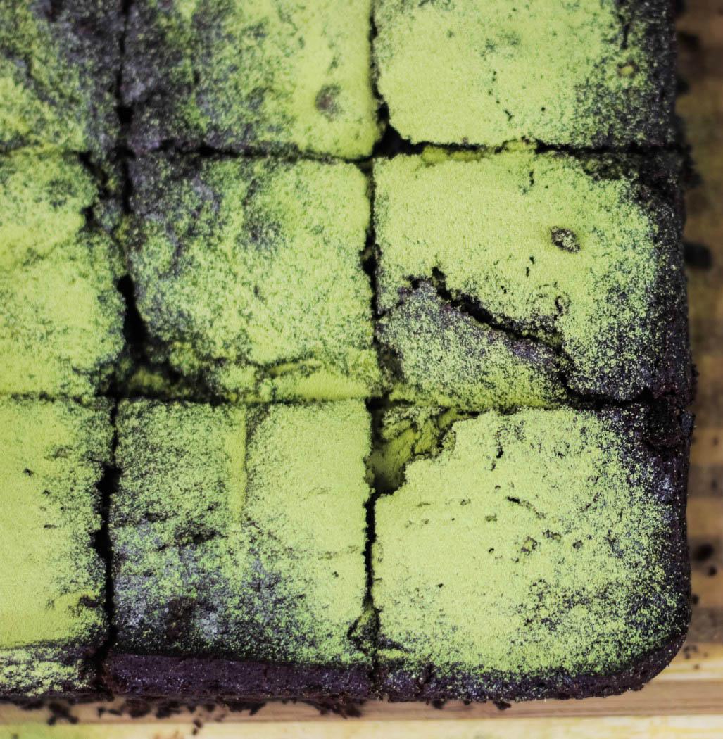 overhead image of sliced brownies