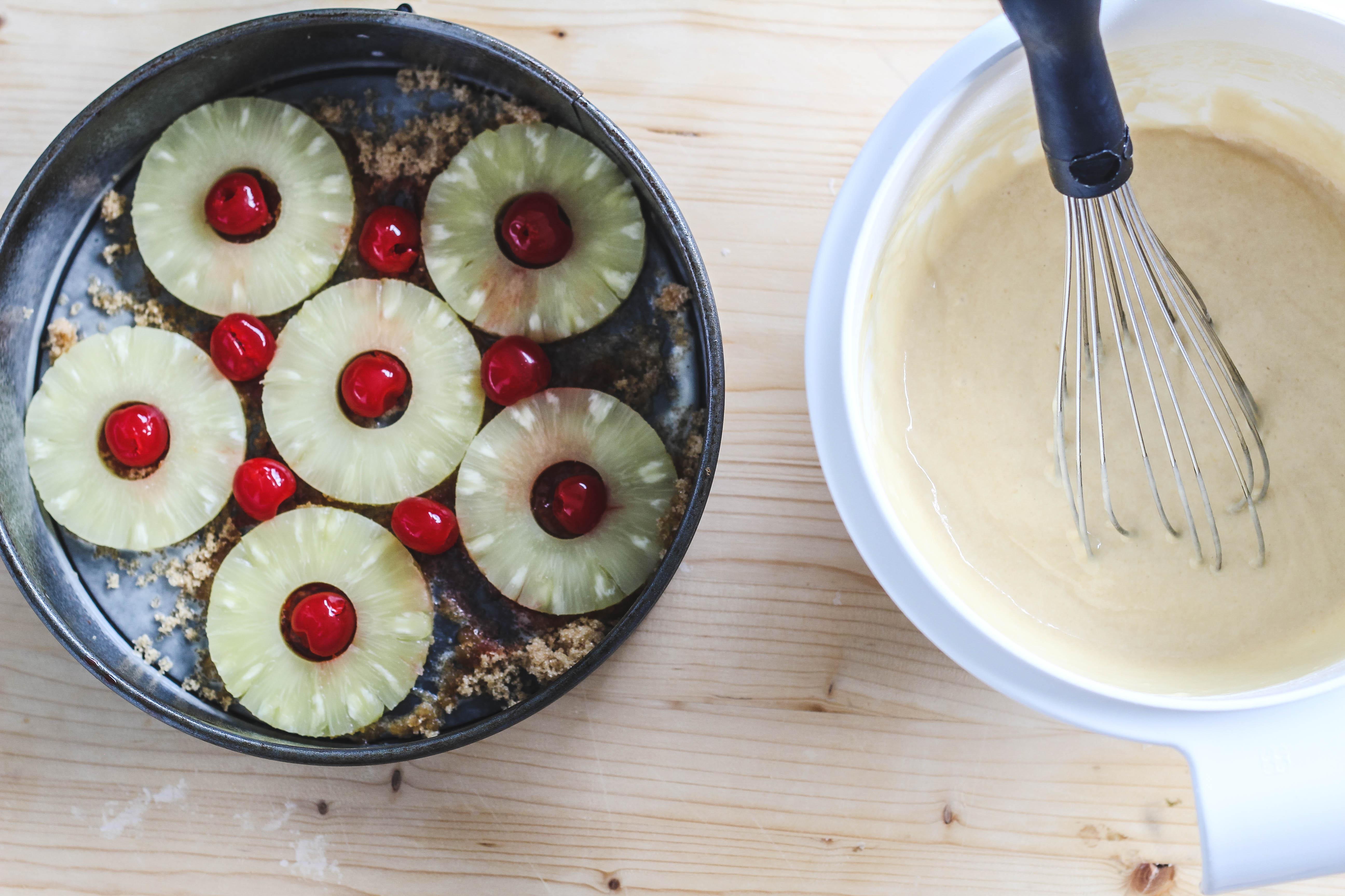 making a vegan pineapple upside down cake