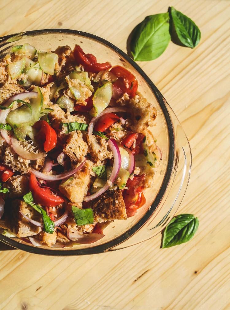 overhead image of panzanella Tuscan tomato and bread salad