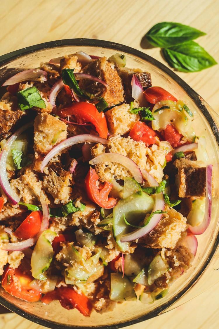overhead image of bread salad