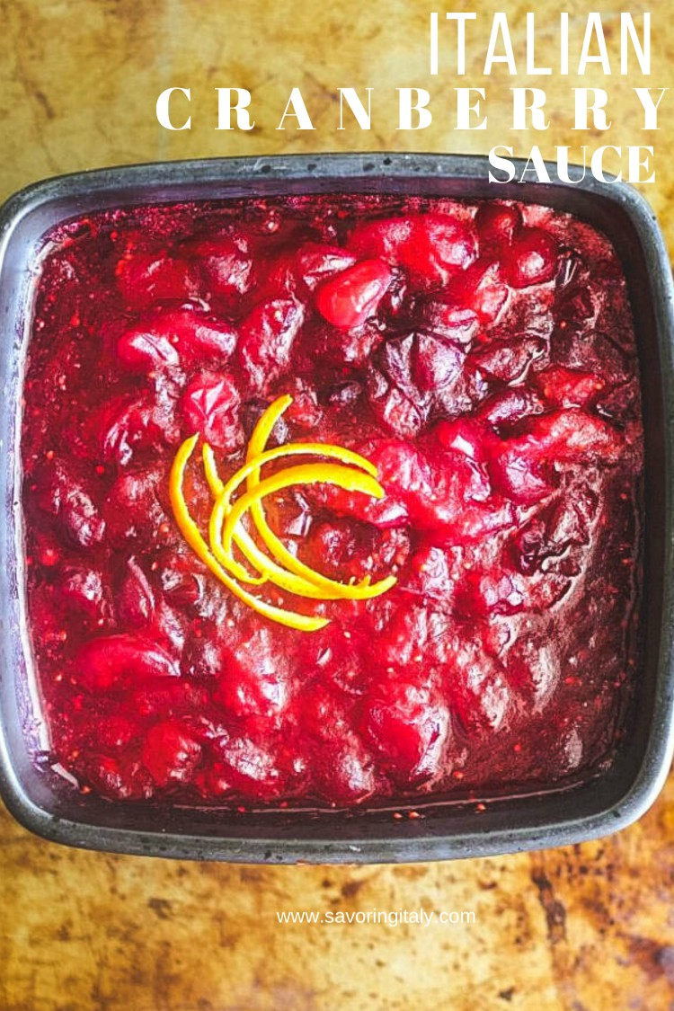 overhead image of cranberry sauce on flat surface