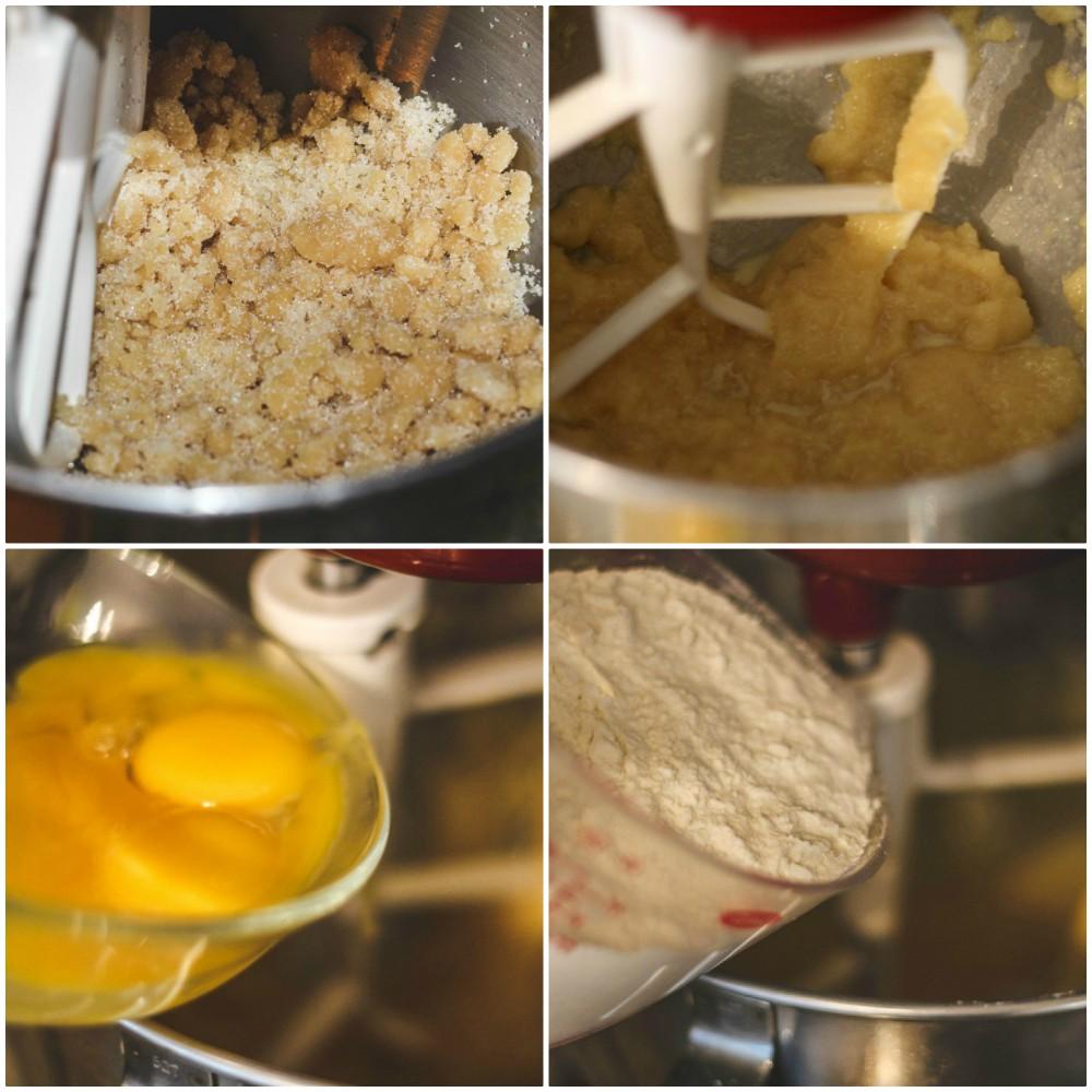 overhead image of baking ingredients in mixer