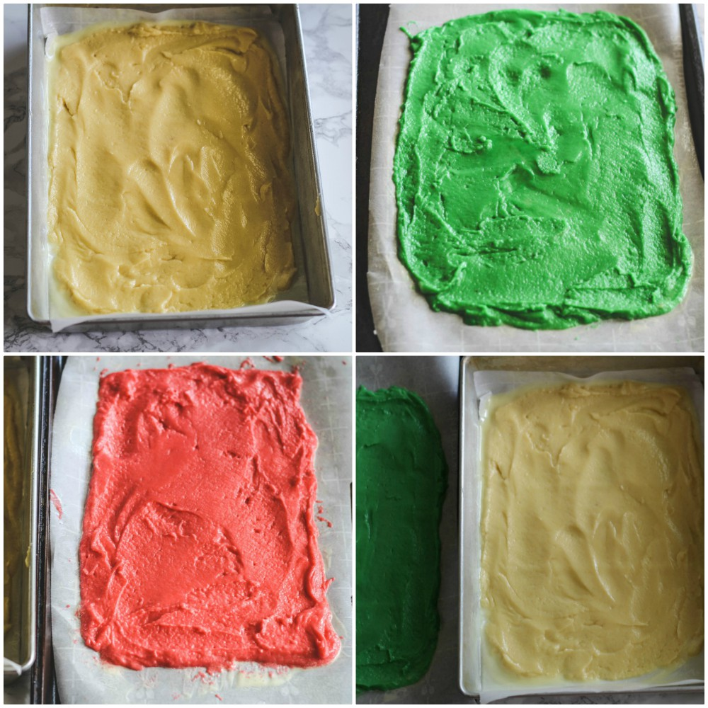 overhead image of colored dough spread in baking sheets
