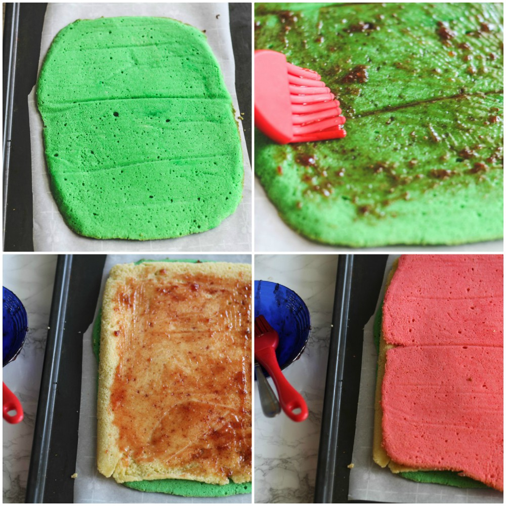 overhead image of colored cake dough collage