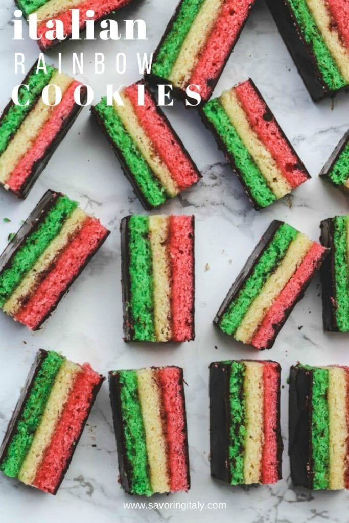 italian rainbow cookies on marble background