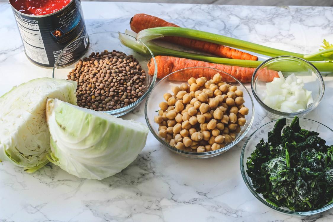 overhead image of ingredients to make vegan stew