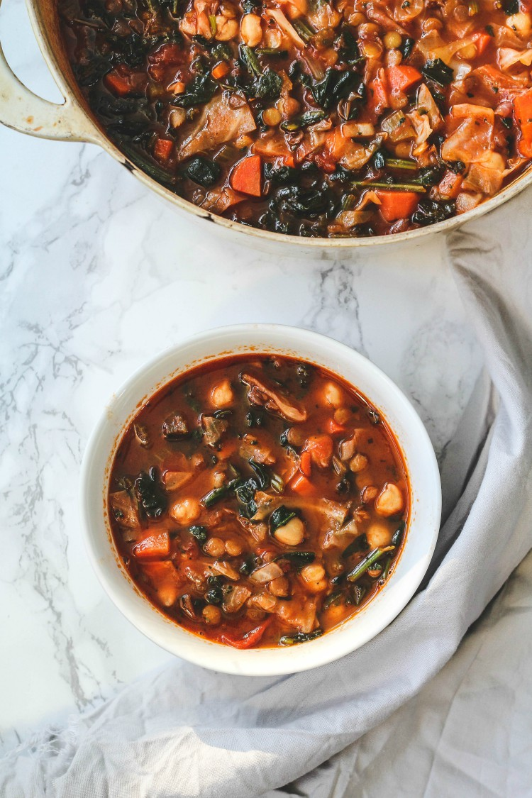overhead image of chickpea stew with spinach