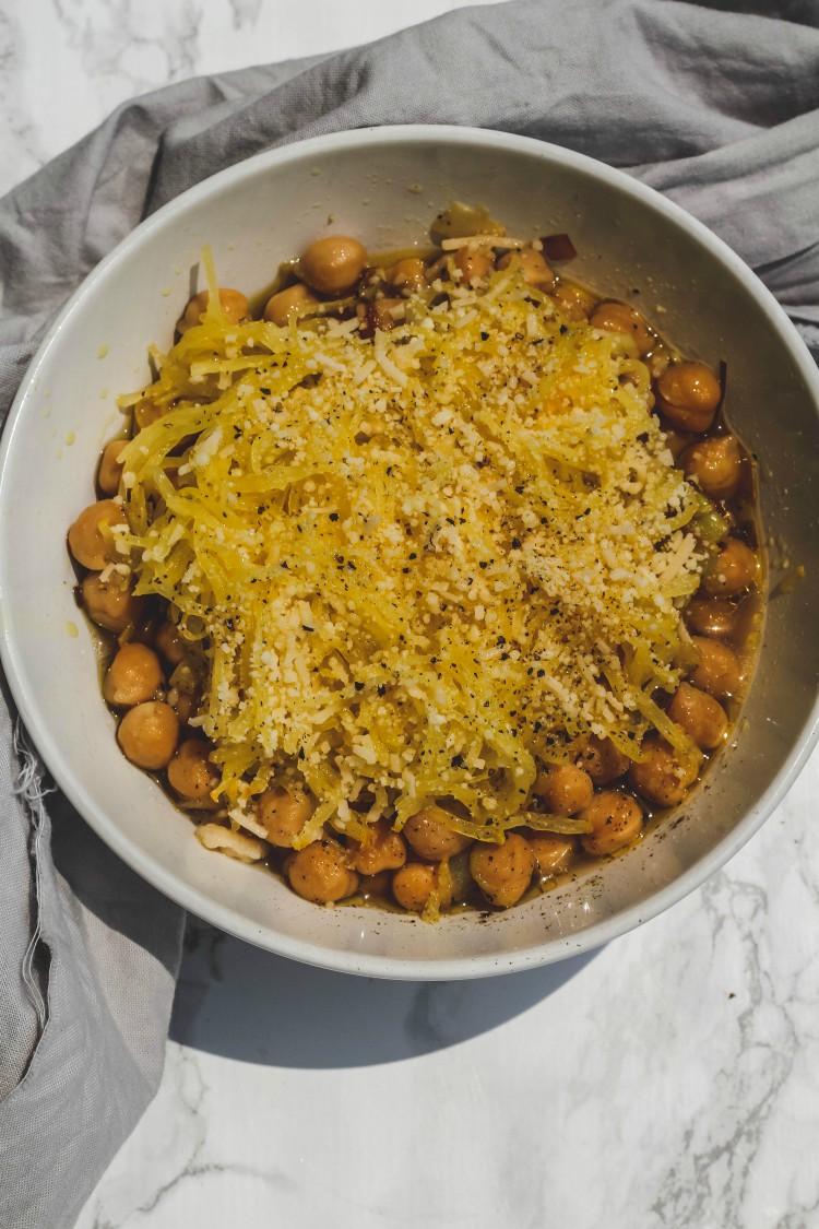 overhead image of spaghetti squash over chickpeas