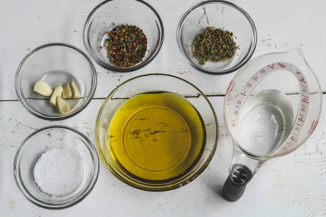 overhead image of marinade ingredients on wooden board