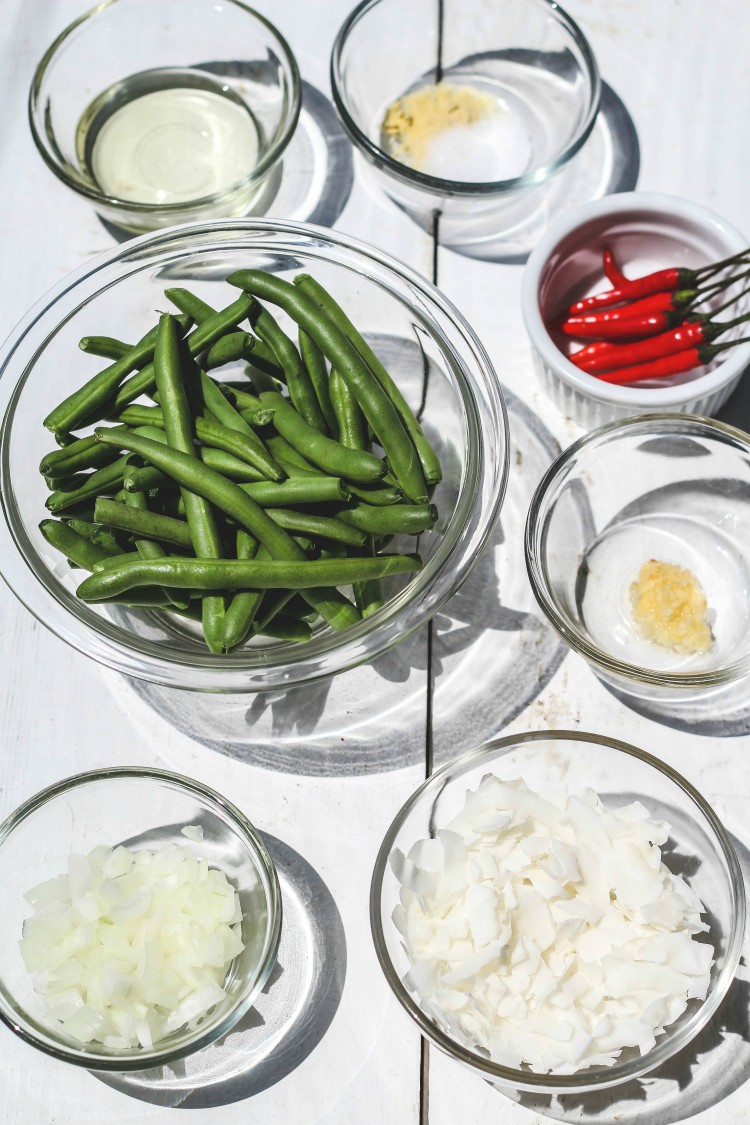 overhead image of making caramelized coconut green beans
