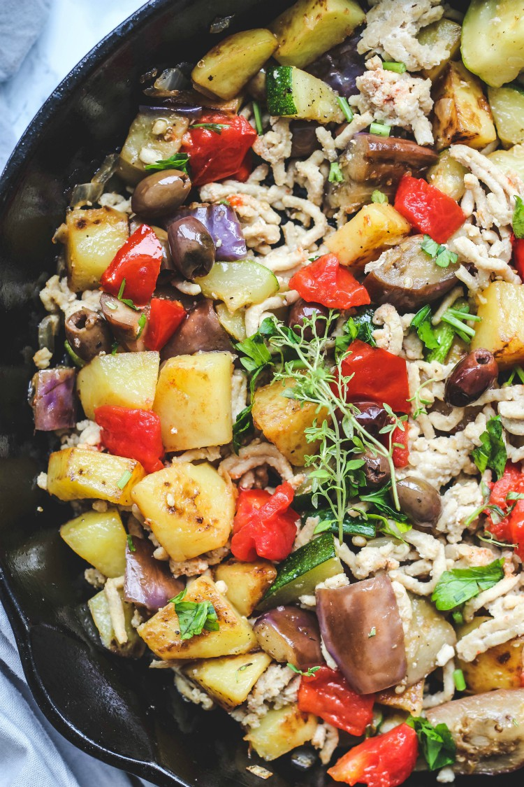 overhead image of Italian breakfast hash