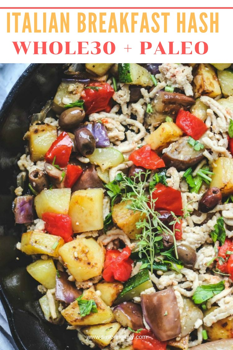 overhead image of Italian breakfast hash in skillet