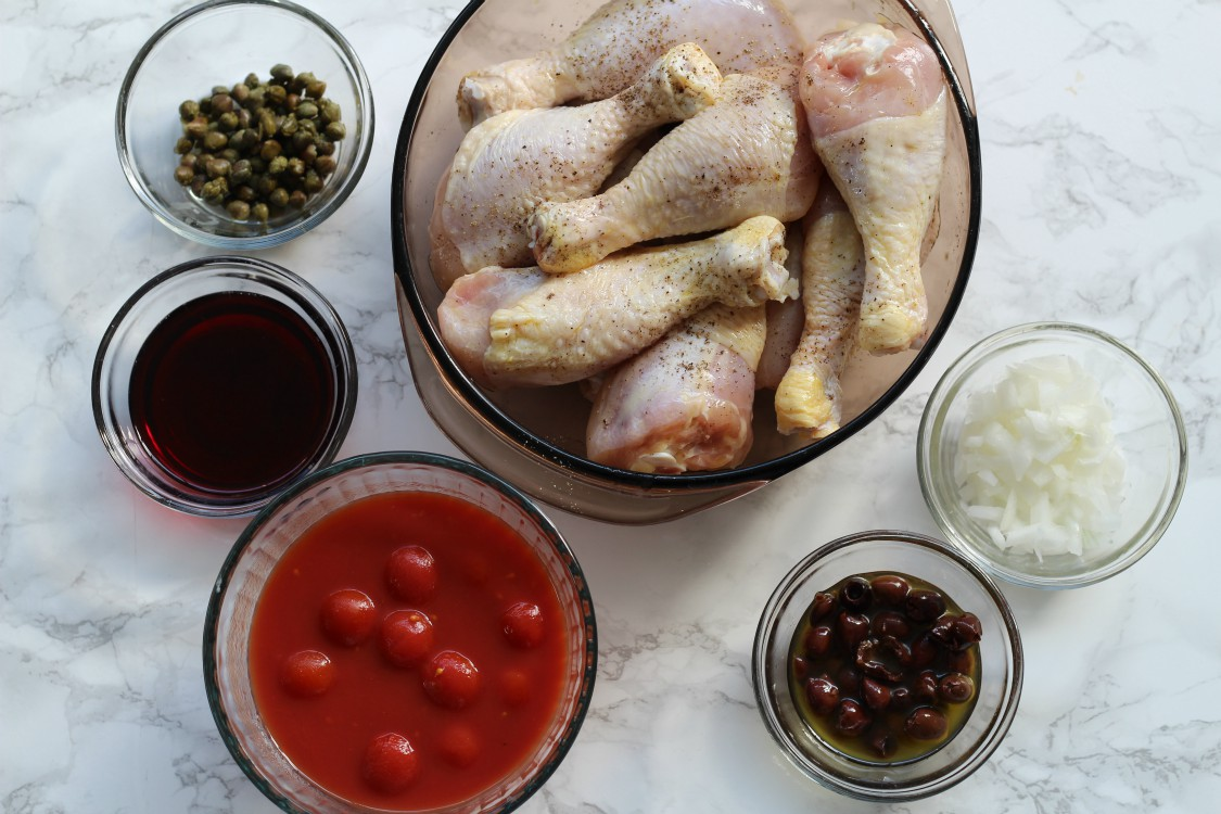 overhead image of ingredients for making chicken recipe