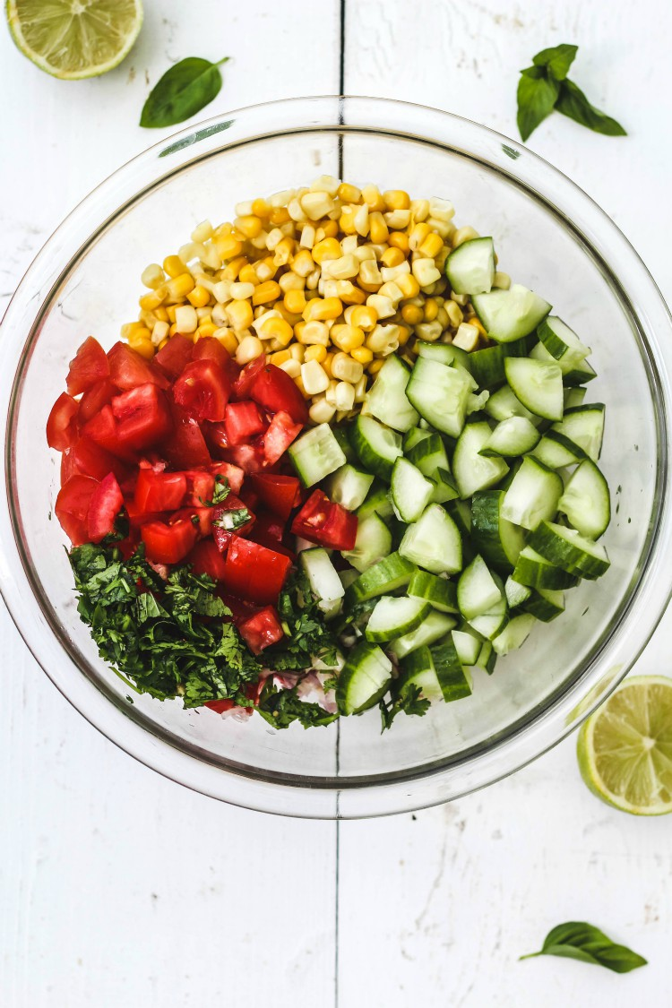 overhead image of sweet summer corn and cucumber salad