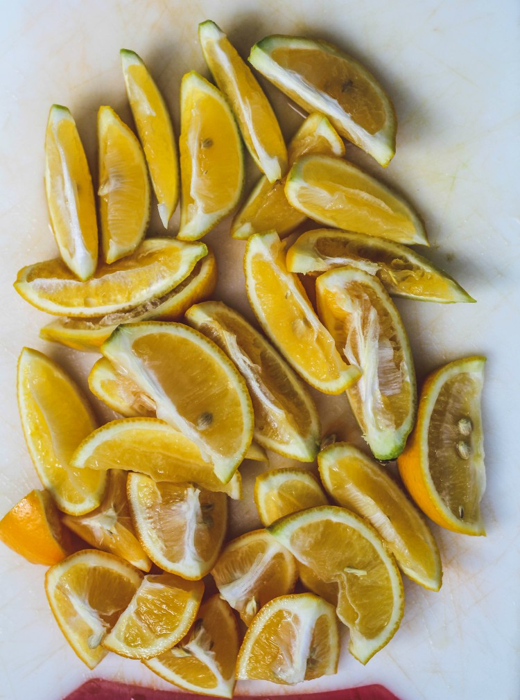 overhead image of sliced lemons