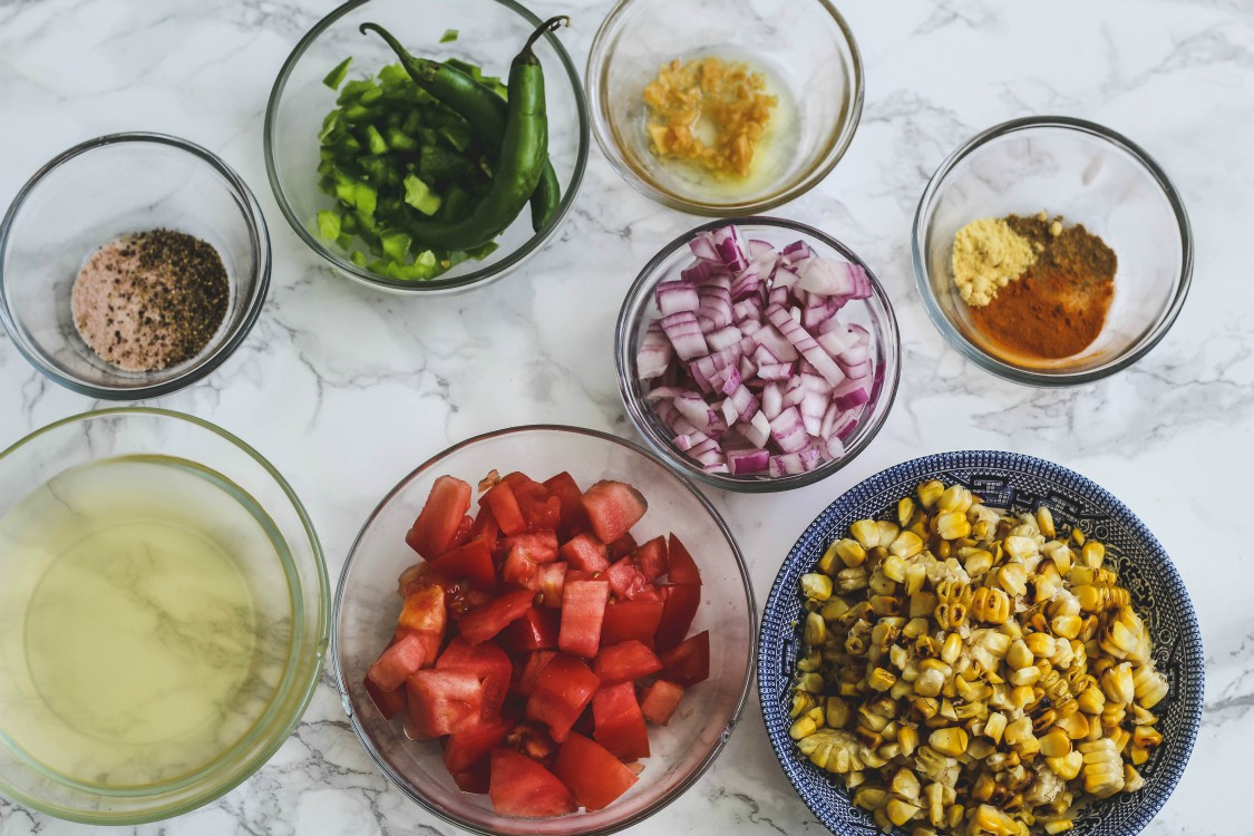 overhead image of making sweet corn relish