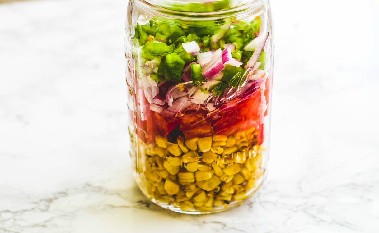 overhead image of sweet corn relish