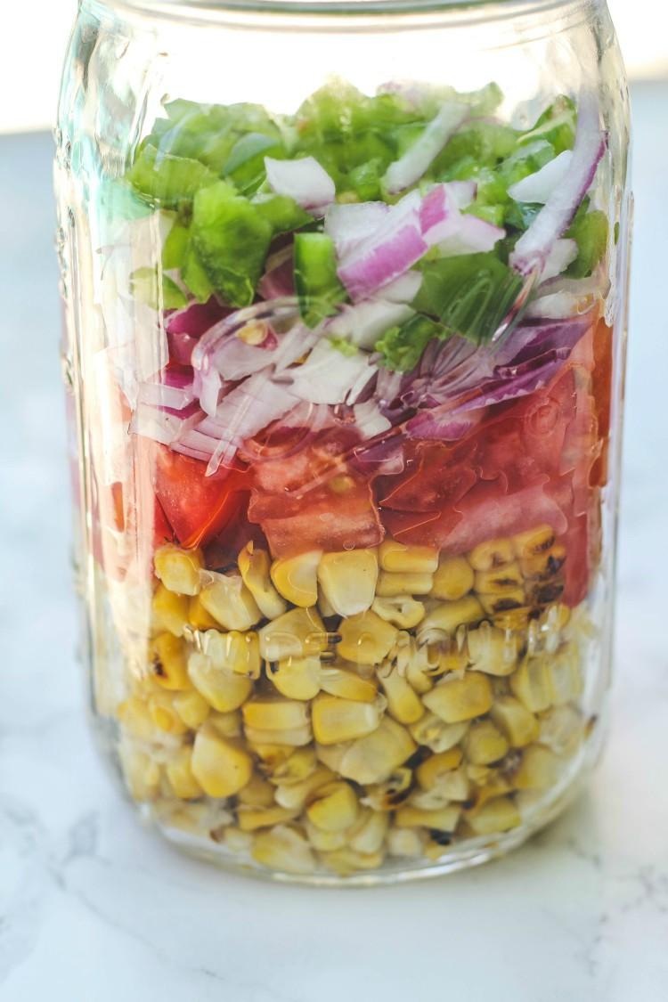 overhead image of making sweet corn relish in a jar