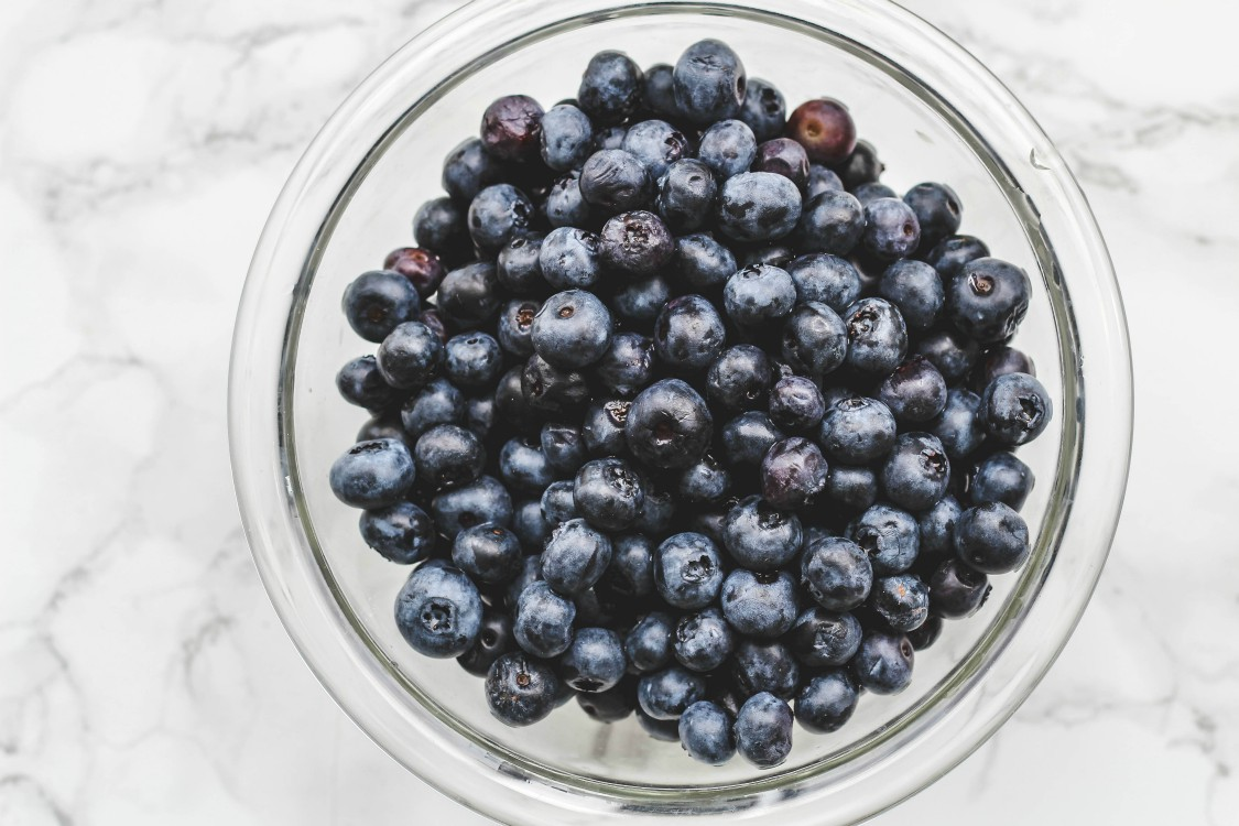 overhead image of blueberries