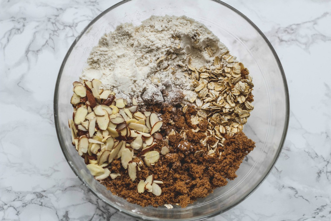 overhead image of making crumble topping