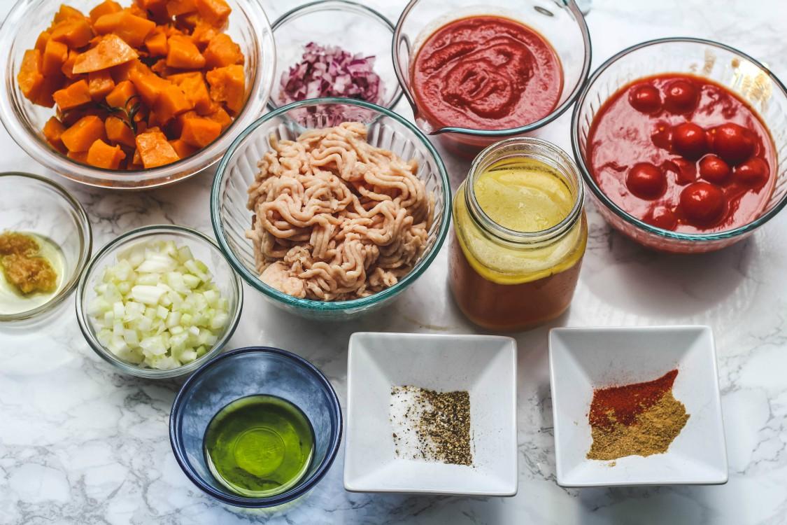 overhead image of making chili
