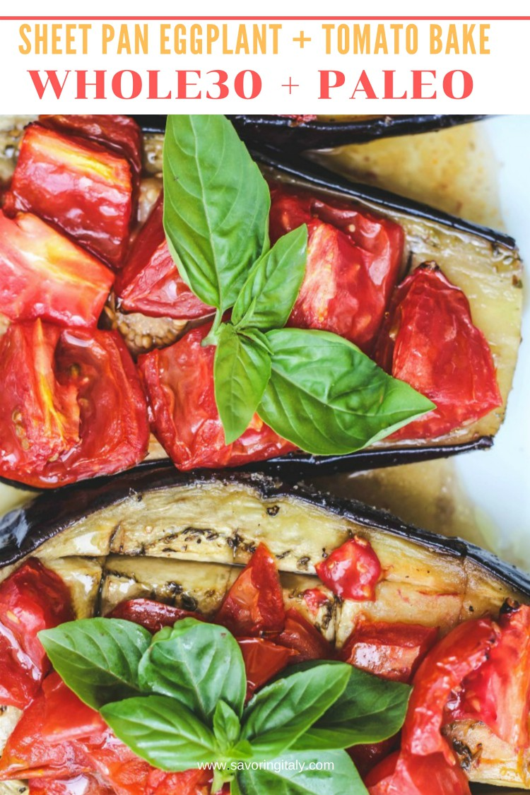overhead image of eggplant tomato and basil dish