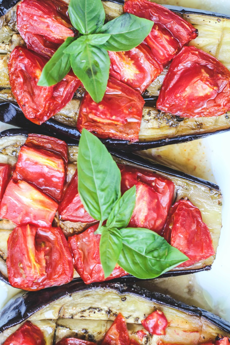 overhead image of sheet pan eggplant and tomato bake