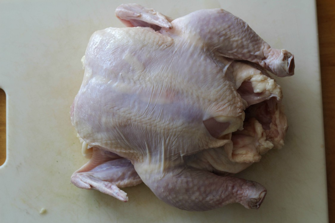 overhead image of whole chicken