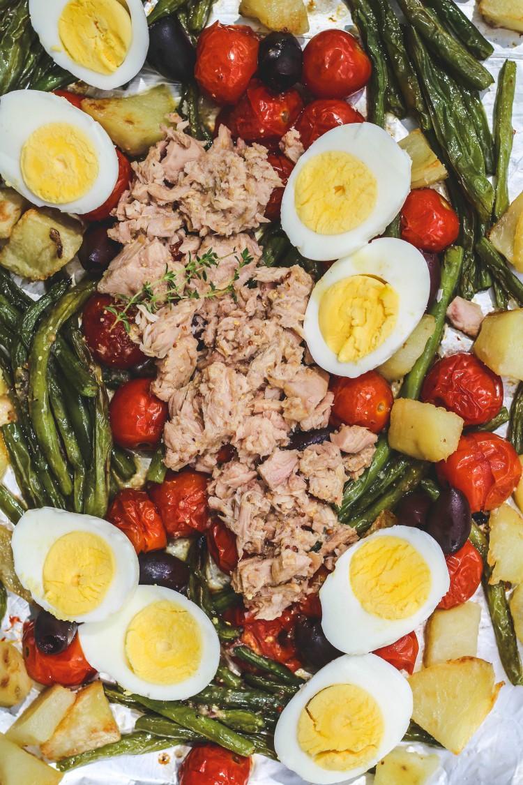 overhead image of warm tuna nicoise salad