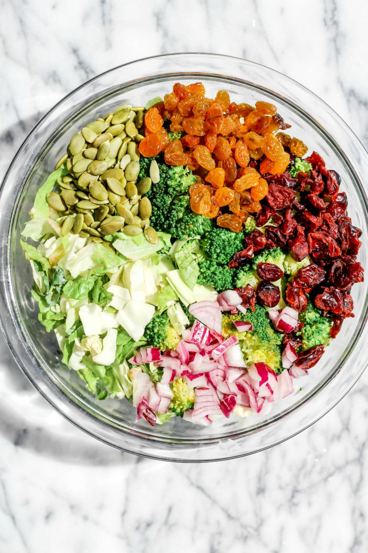 overhead image of whole30 broccoli salad