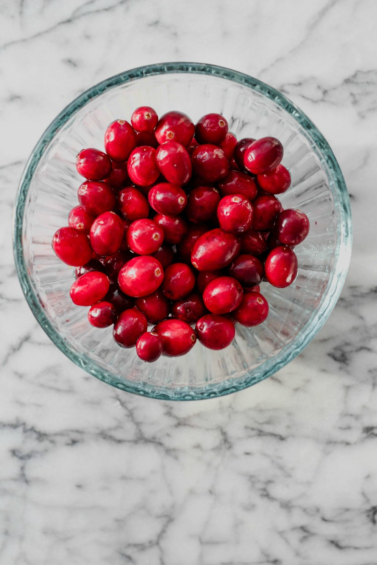 overhead image of bowl of red berries