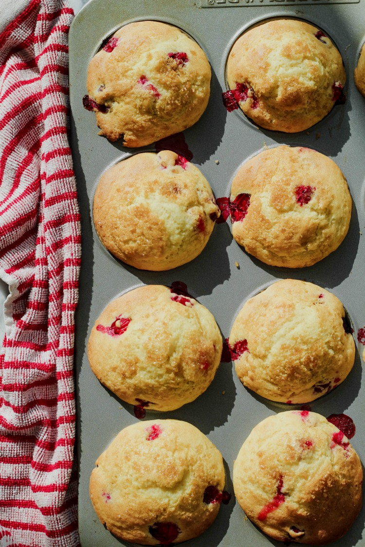 overhead image of gluten-free cranberry muffins