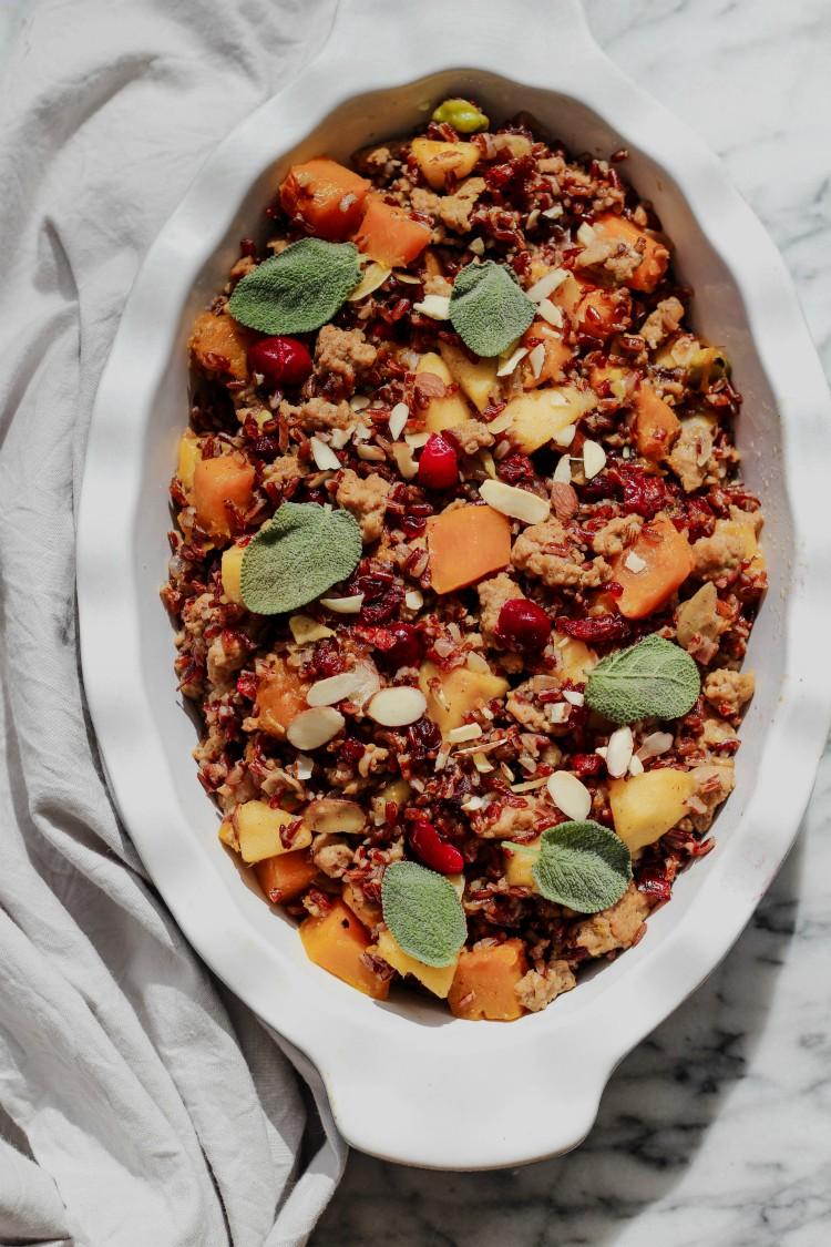 overhead image of gluten-free rice stuffing