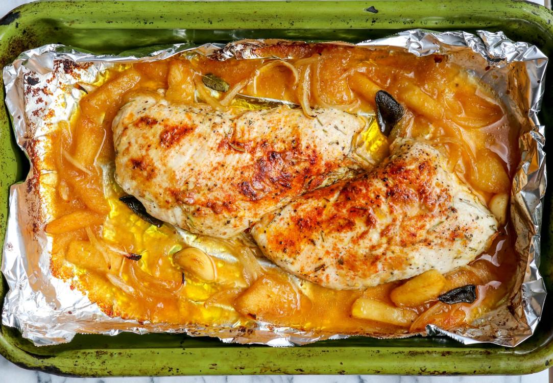overhead image of turkey tenderloin in a baking pan