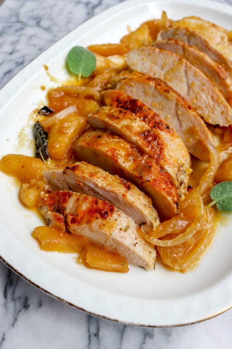 overhead image of turkey tenderloin sliced on white plate