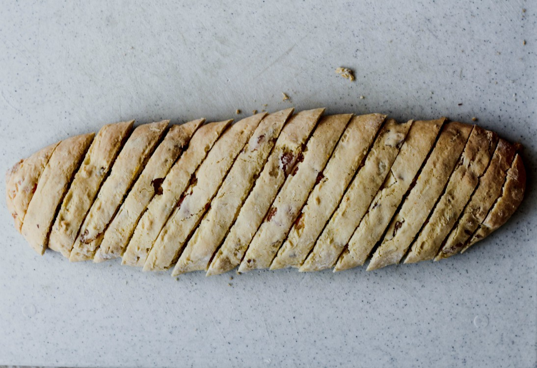 overhead image of sliced cookie dough log
